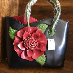 Handbags - New/Tags/Black Leather Bag/Lime Green/Red Accents